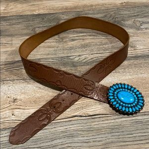 Lucky Brand leather belt with cerulean blue buckle